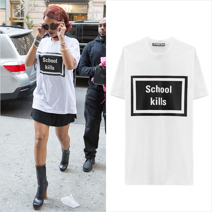 『リアーナ』お気に入りのブランド『HYEIN SEO』のTシャツを着用したシンプルファッション