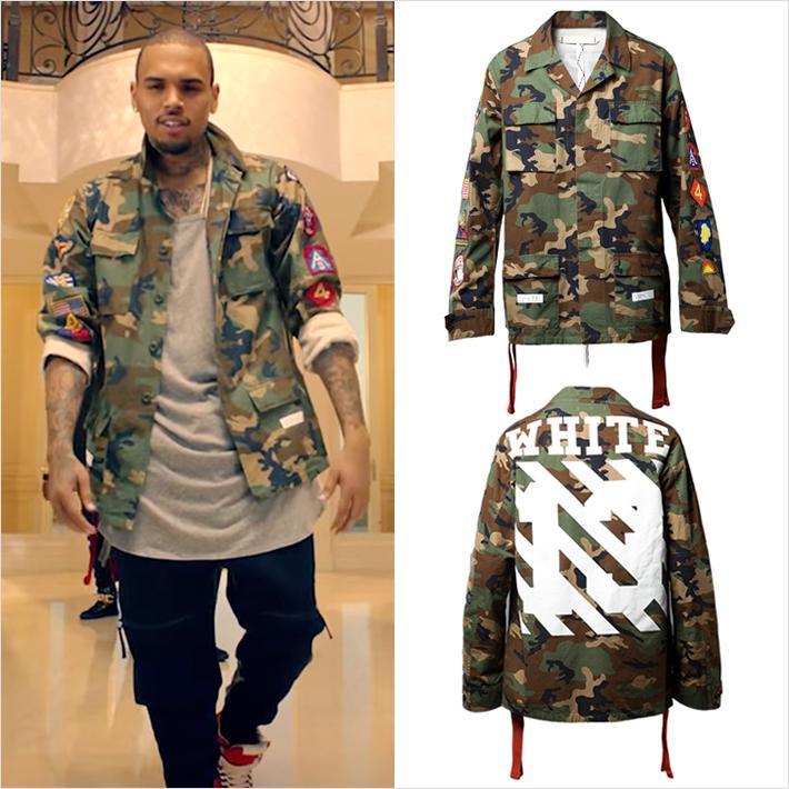 DJ Khaledのヒット曲『Hold You Down』で『クリス・ブラウン』が『OFF-WHITE』のカモフラミリタリージャケットを着用