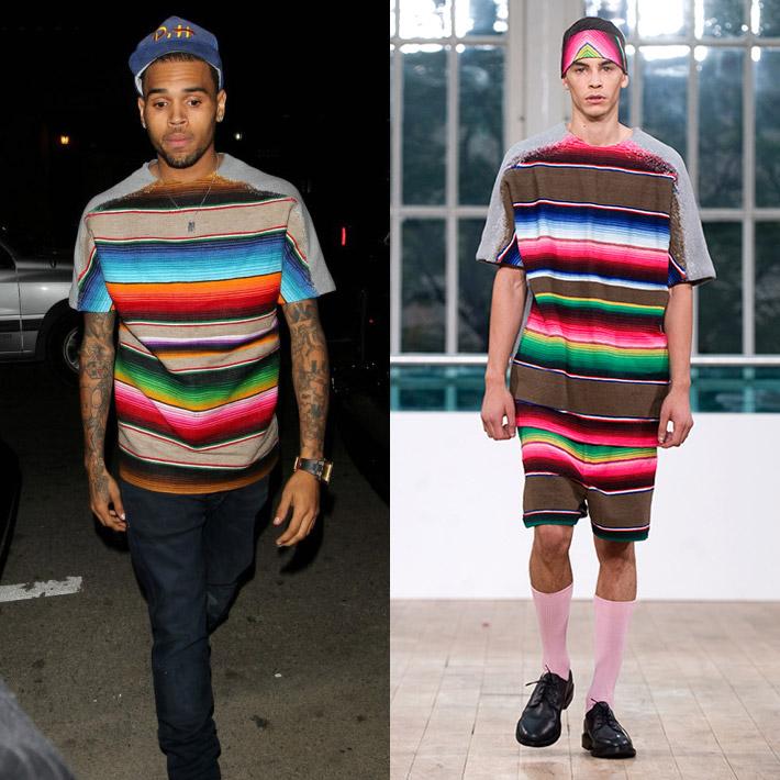 『Chris Brown x Shaun Samson』コレクションでも使用された、メキシカンブランケット柄トップスを着用