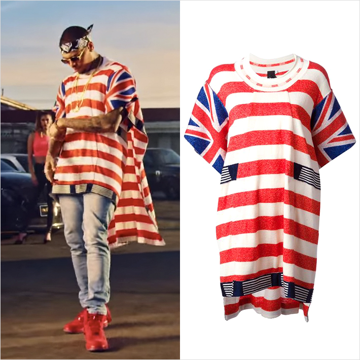 『Chris Brown x Tyga – Ayo』ベルンハルトウィルヘルムの国旗柄トップスを着用