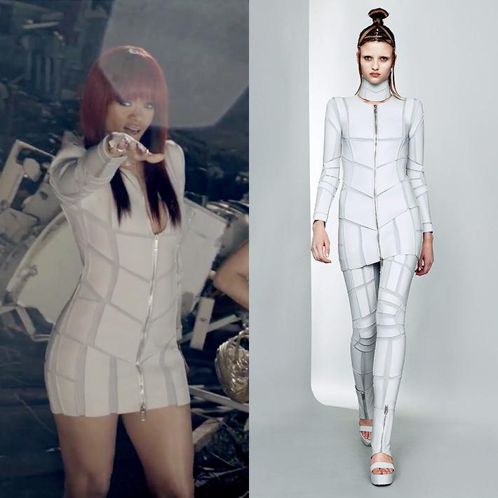 「Nicki Minaj – Fly ft. Rihanna」、ミュージックビデオで「リアーナ」が「GARETH PUGH」のジャケットを着用