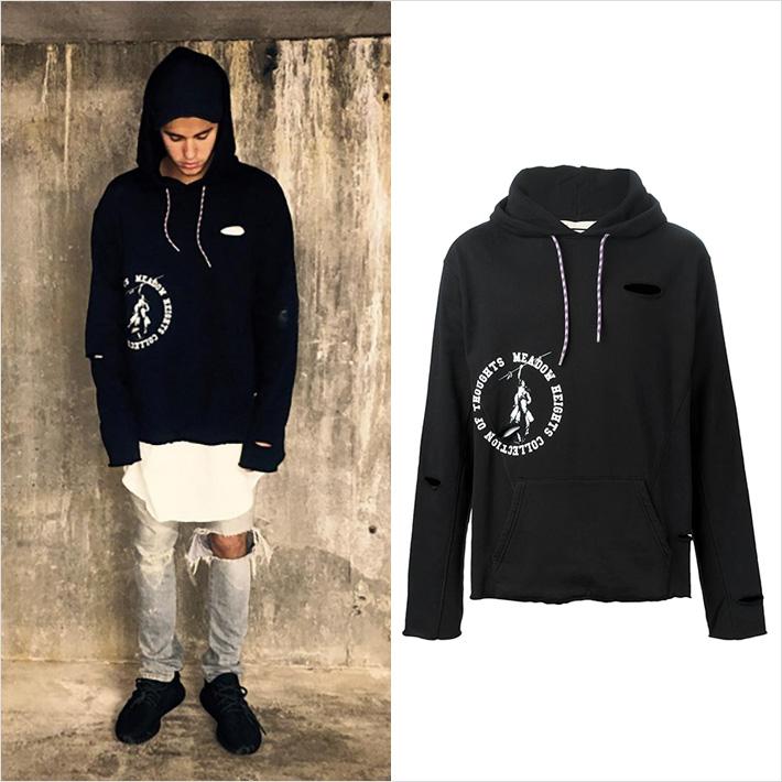 『Justin Bieber x OFF-WHITE』スタイル、私服でオフホワイトのパーカーを愛用