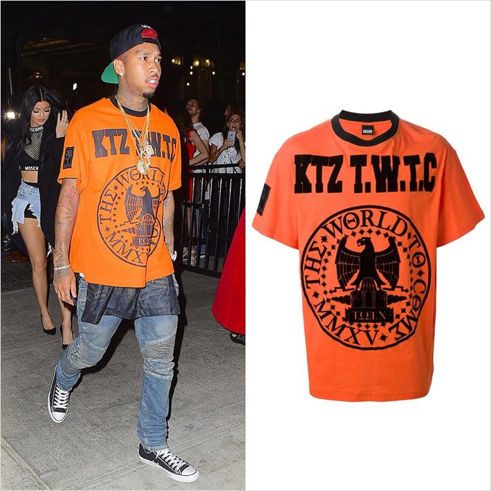 ラッパー「Tyga」、私服で「KTZ」のオーバーサイズTシャツを着用