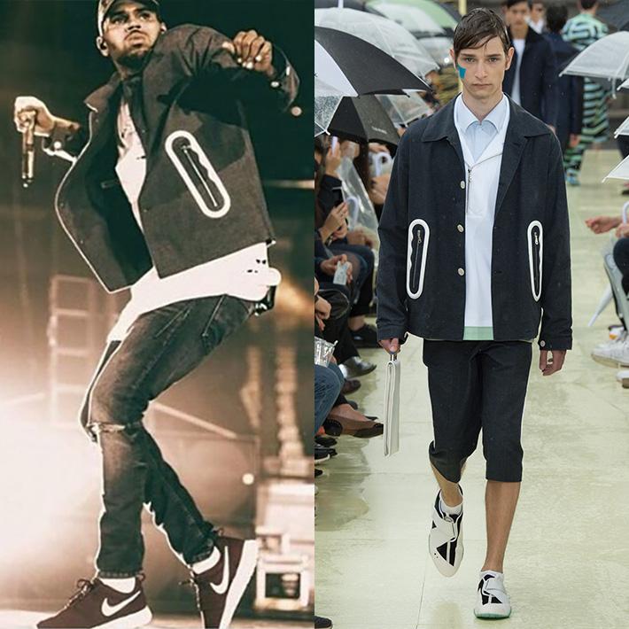 『KENZO (ケンゾー)』2015S/Sコレクションのデニムジャケットを『クリス・ブラウン』がライブで着用