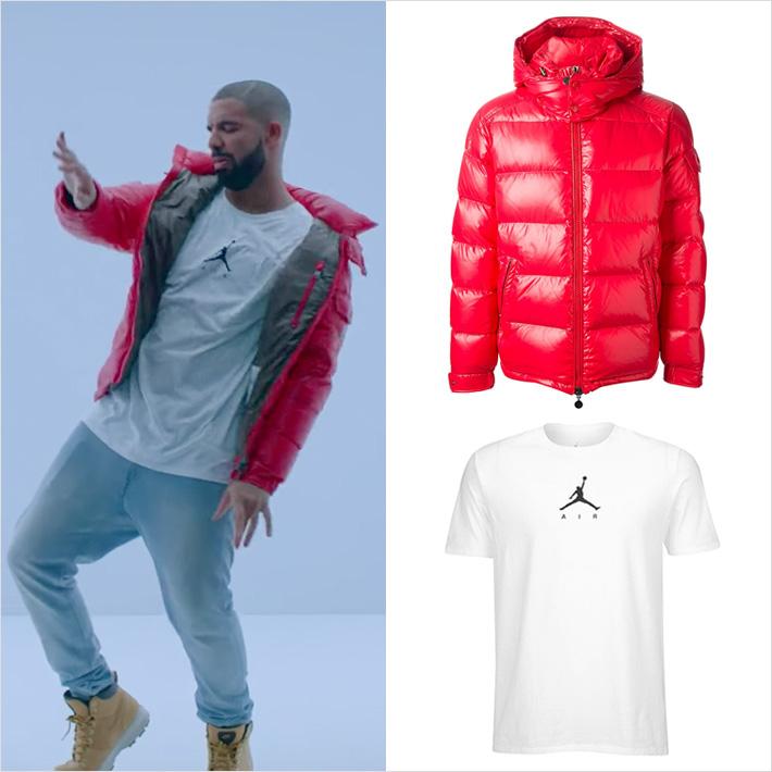 Drake - Hotline Bling wear Jprdan T shirts &  Moncler Jacket