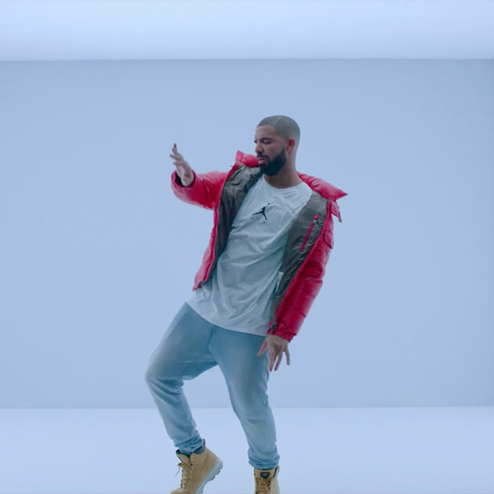 Drake - Hotline Bling wear Jprdan T shirts &  Moncler Jacket