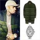 クリス・ブラウン、ロンドン発「LNZ」ニットカーディガンに「Cartier(カルティエ)」高級腕時計を着用